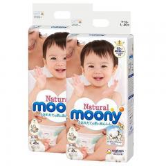 2包 | Moony尤妮佳 白色有機棉紙尿片紙尿乾爽透氣自然棉 L40片