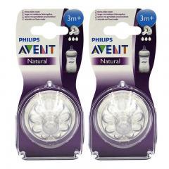 2件裝| AVENT飛利浦/新安怡寬口徑自然質柔奶嘴3孔3m+